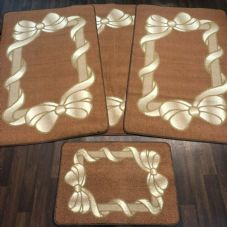 ROMANY GYPSY WASHABLES NON SLIP SETS OF 4 MATS BROWN/BEIGE GOOD THICK MATS BOWS